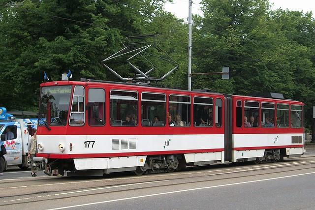Tatra KT 4D tramway in Tallinn Estonia (June 2013)