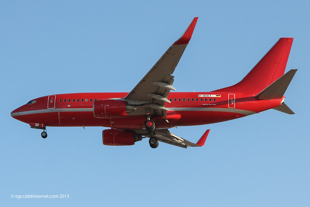 D-AGEY - 2000 build Boeing B737-7L9, on approach to Runway 24L at Palma