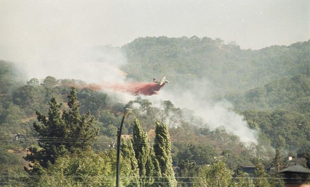 Quicksilver Fire, July 1985: CDF S-2 dropping retardant