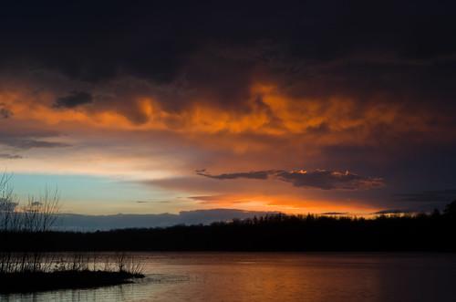 blue sunset sky lake storm color water rain landscape evening glow shine purple bright fade thunder