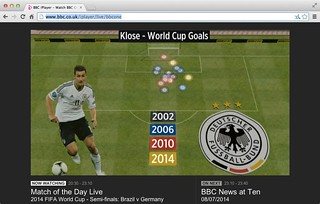 """""""Keep your friend close and your enemies Klose"""" Goal hanger Miroslav Klose #WorldCup Goals for Germany @DFB_Team via Match of the Day @BBCSport #BRAvsGER @bbcmotd"""