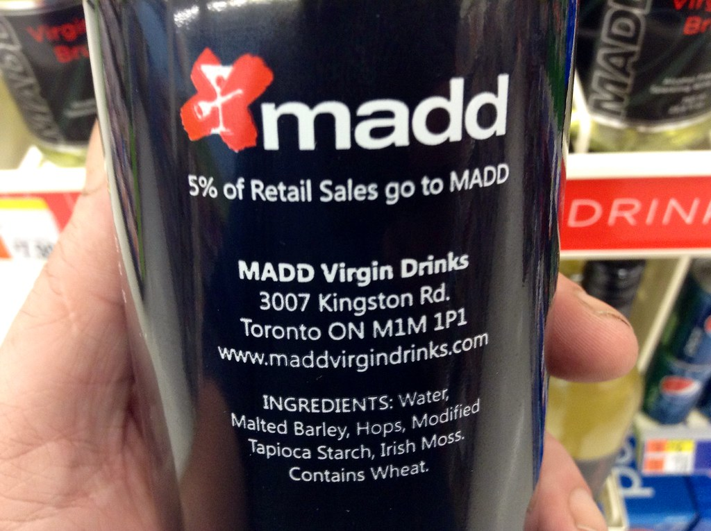 MADD, Mother's Against Drunk Driving Virgin Alcohol Free W