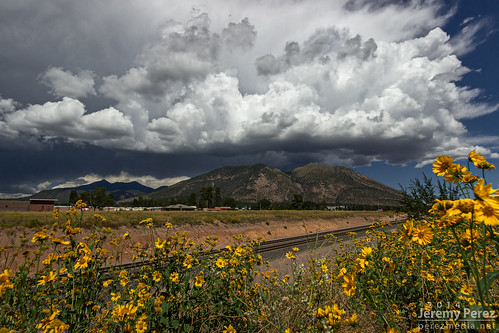 railroad flowers arizona sky mountain storm weather clouds landscape tracks flagstaff thunderstorm sanfranciscopeaks convection mtelden