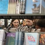 Between the book shelves |