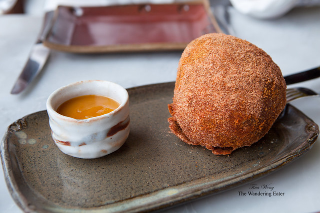 Spicy ox cheek doughnut with apricot jam