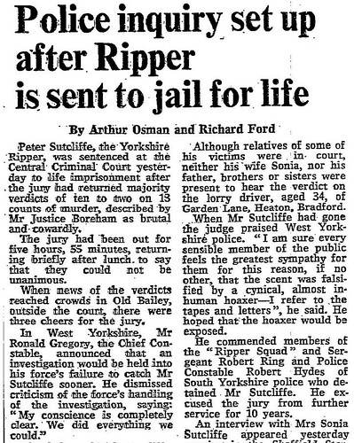 22nd May 1981 - Peter Sutcliffe (Yorkshire Ripper) jailed for life | by Bradford Timeline