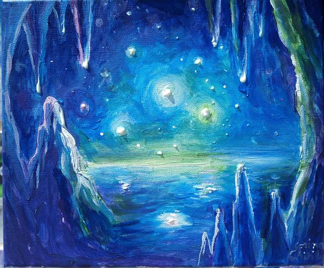 Pestera de gheata de pe alta planeta pictura -Alien frozen cave painting