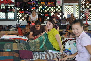 Cheerful ladies in the traditional Laotian handicrafts centre | by shankar s.