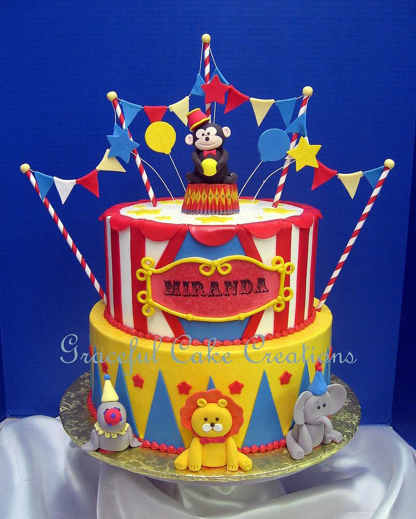 Super Circus Themed Birthday Cake Grace Tari Flickr Funny Birthday Cards Online Elaedamsfinfo