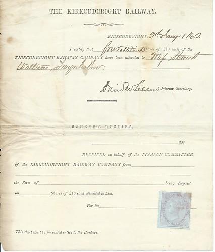 Kirkcudbright Railway share allocation 1882   by ian.dinmore