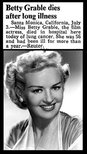 2nd July 1973 - Death of Betty Grable | by Bradford Timeline