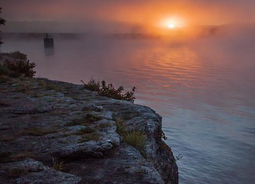 park sun lake tower rock fog sunrise dawn bethany boulder falls mo missouri limestone outlet fleming jacomo lakejacomo flemingpark