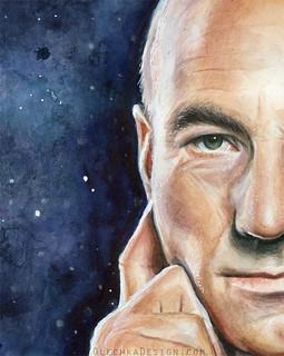 Captain Picard Portrait - watercolor - Star Trek Fan Art
