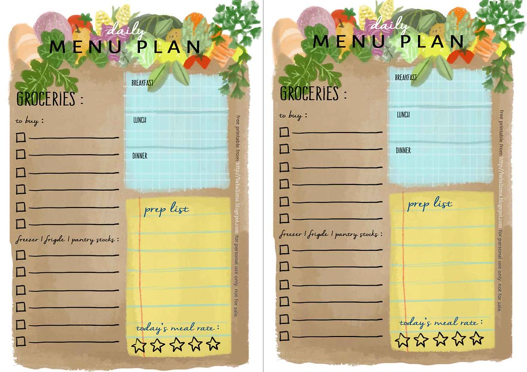 image about Planner Inserts Free titled babalisme no cost A5 planner inserts every day menu application ning