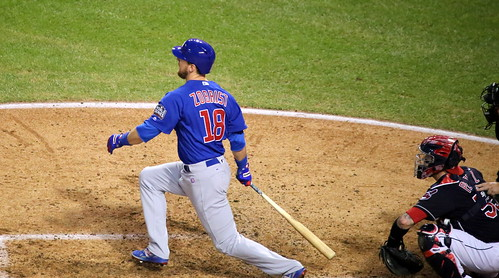 Cubs outfielder Ben Zobrist swings at a pitch during World Series Game 7. | by apardavila