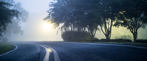 road fog sunrise nc northcarolina raleigh