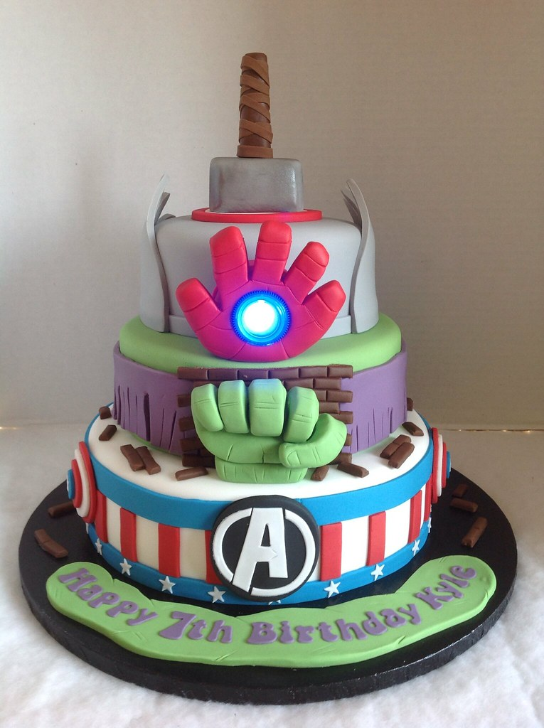 Fine Avengers Birthday Cake Liz Flickr Funny Birthday Cards Online Drosicarndamsfinfo