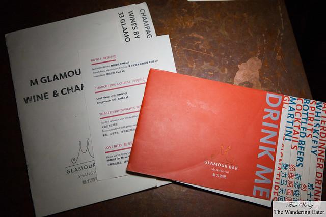 Menus of M Glamour Bar