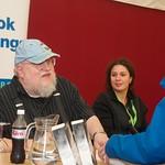 George R R Martin signs books for fans at the Edinburgh International Book Festival |