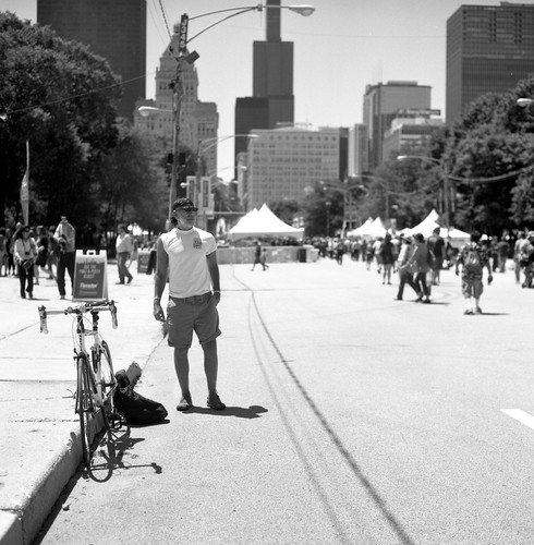 """Image titled """"Guy with Bicycle, Chicago."""""""