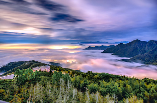 taiwan 南投縣 鹿谷鄉 大崙山 武岫農圃 夕陽 雲彩 雲海 天空 風景