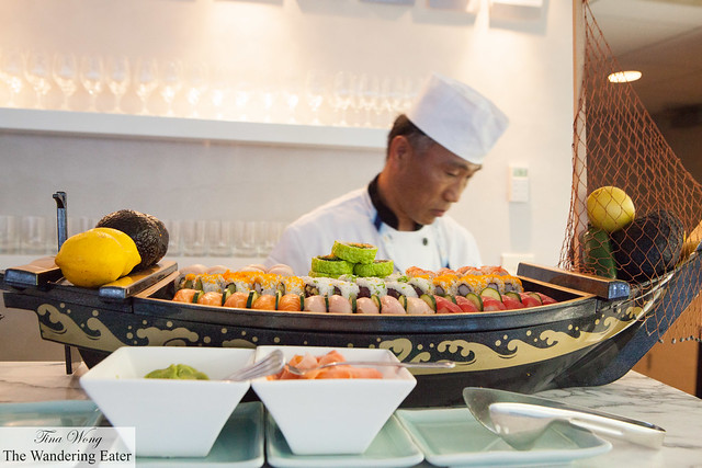 The various nigiri and maki sushi freshly made at the Emirates Suite