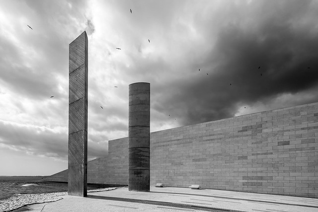 dark clouds above the monoliths