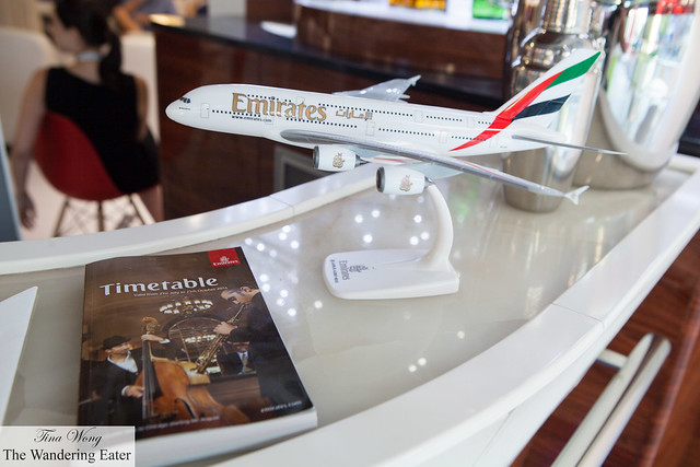 Emirates model plane and timetable