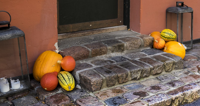 Halloween - Pumpkins in the doorway