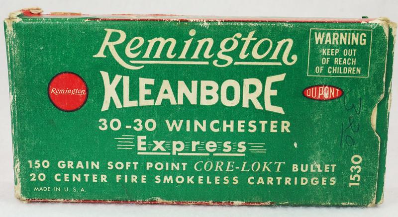 RD14567 Vintage Remington KLEANBORE 30-30 Express 150 gr. Soft Point SMOKELESS Ammo Box & 20 Brass Casings DSC06984