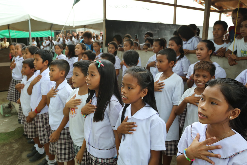 Students from the newly-repaired Bislig Elementary School