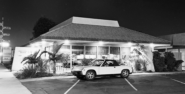 45 Years ago: Rossmoor-El Dorado Animal Hospital at Night with Porsche 914-6