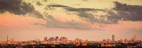 pink sunset sky boston skyline clouds downtown massachusetts middlesexfells