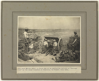 """""""Hot work at the guns"""" - Australian artillery in action at Pozieres July 1916"""