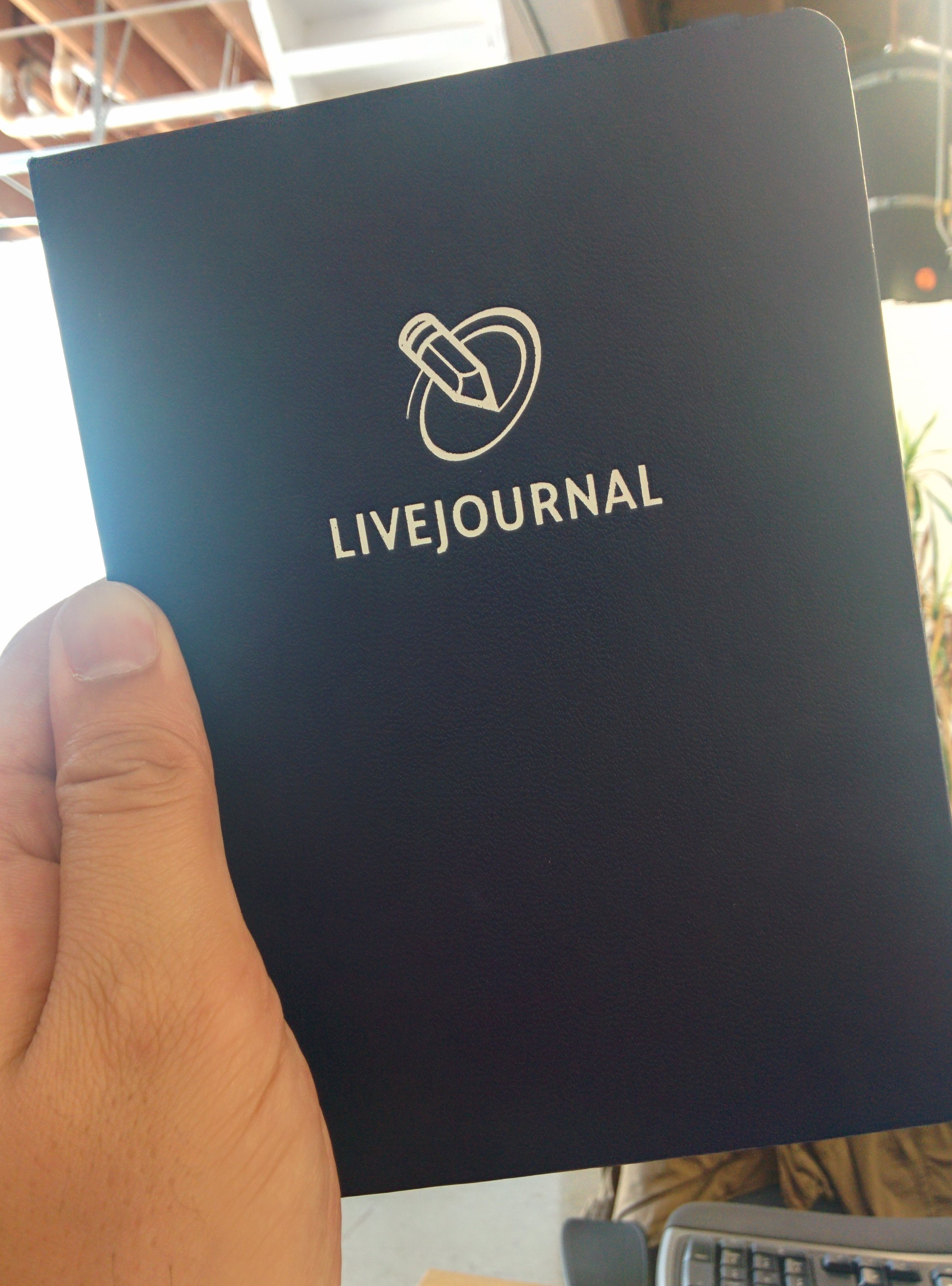 Photo of a LiveJournal branded notepad.