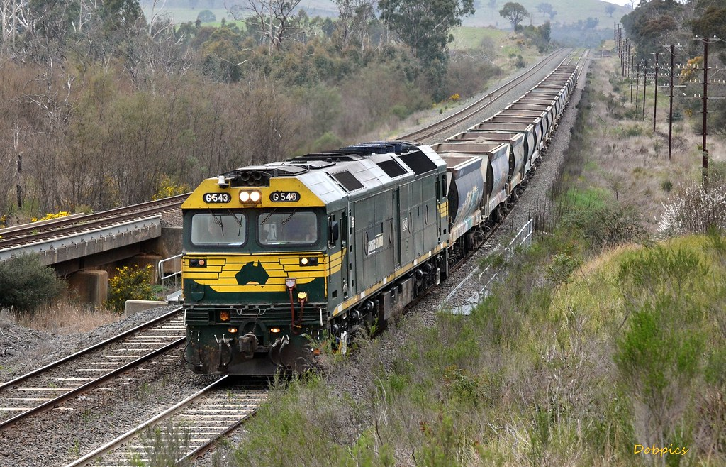 G543 works the quarry train between Wandong & Kilmore East. 16/9/14 by Dave O'Brien
