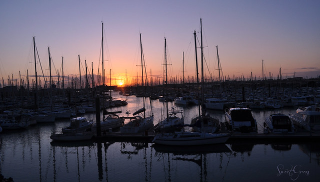 Sunset in the harbour of La Rochelle