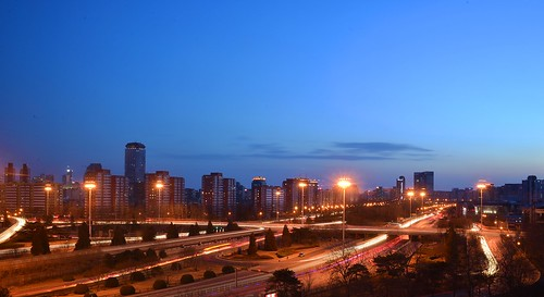 china beijing chaoyang district 3rdringroad airportexpressway street road light trails streams dusk blue hour night nacht nachtaufnahme noche nuit notte noite blaue stunde 中国 北京 东三环路 机场高速公路 三环桥 ©allrightsreserved longexposure langzeitbelichtung landscape