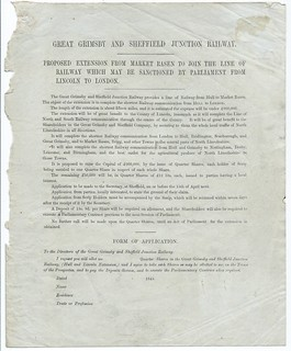 Great Grimsby and Sheffield Junction Railway application for shares in thier extension to Lincoln 1845   by ian.dinmore