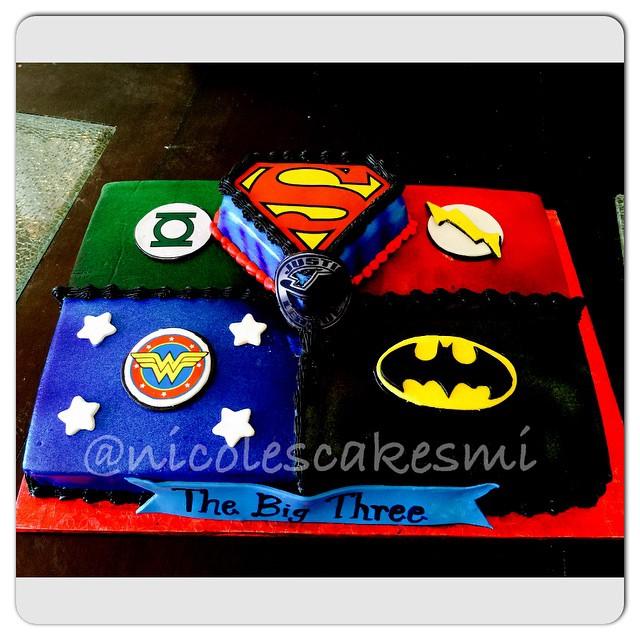 Justice League Cake Buttercream With Some Edible Images And Some Fondant Superhero Emblems Nicolescakesmi Detroitcakes Detroitbaker Customcakesdetroit Detroitcustomcakes Justiceleaguecakes Supermancake Batmancake Greenlanterncake