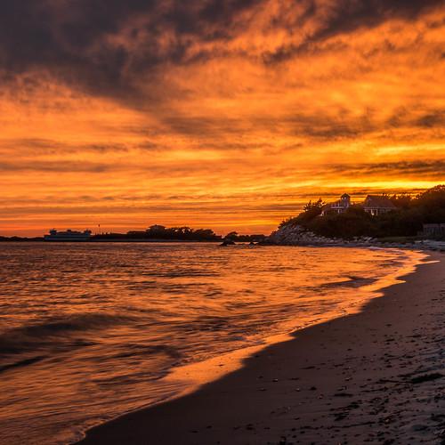 sunset ferry capecod massachusetts woodshole falmouth nobska vineyardsound