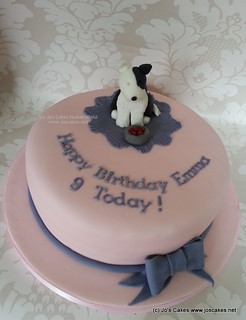 Awesome Collie Dog Birthday Cake With Bow For 9Th Birthday Flickr Personalised Birthday Cards Akebfashionlily Jamesorg