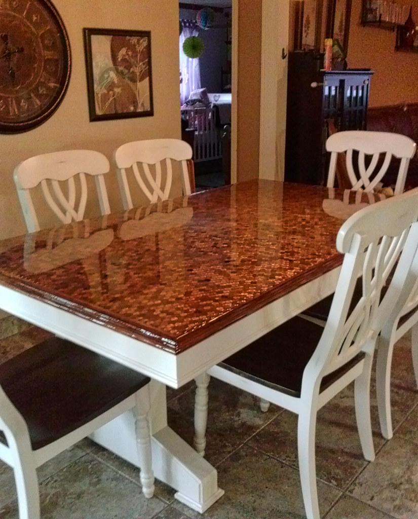 Epoxy Penny Kitchen Table Kithen Table With Pennies Embedd Flickr