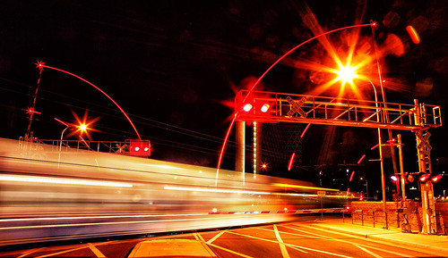 Night Light Rail Crossing!