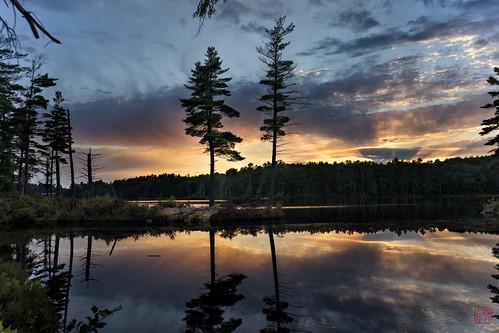 trees sunset reflection unitedstates walk massachusetts tully twotrees royalston explored tullylake fall2014 cal2015