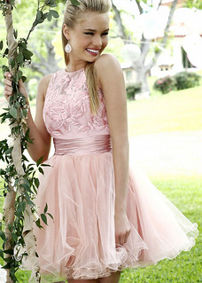2014 Sleeveless Lace Floral Top Short Pink Tulle Prom Dress | by alexandermarieguillemin