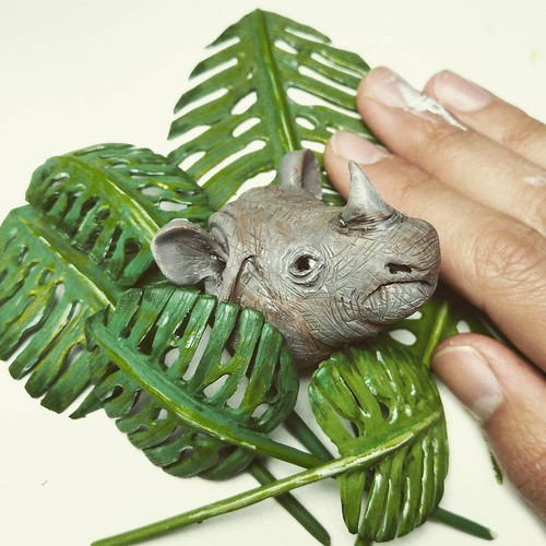 """Spend the last two days sculpting this plant. Turns out, Monster Deliciosa is NOT found in the Indonesian rainforests 😅 unlike the javan rhino. """"Good"""" thing I'm also going to make an artwork about the deforestation of the Amazon. // in case yo 