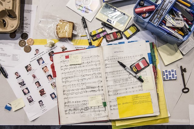The stage management table for for John Schlesinger's production of Offenbach's Les contes d'Hoffmann © ROH 2016. Photograph by Sim Canetty-Clarke