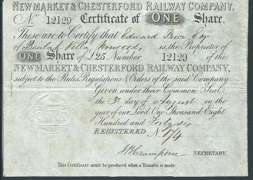 Newmarket & Chesterford Railway share certificate of 1846 | by ian.dinmore