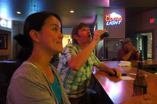 at the bar at Mission Hills Bowl